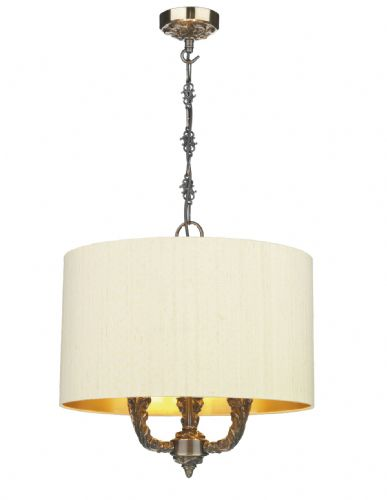 Valerio 3 Light Pendant complete with Silk  Shade (Specify Colour) VAL0300